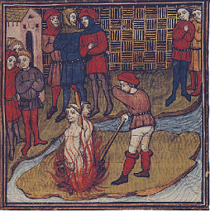 The leaders of the Templars being burned on the stake
