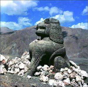 Stone lion in Qinghai made by the Tuyuhun people