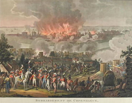 The bombardment of Copenhagen - painting by Lorenz Rugendas
