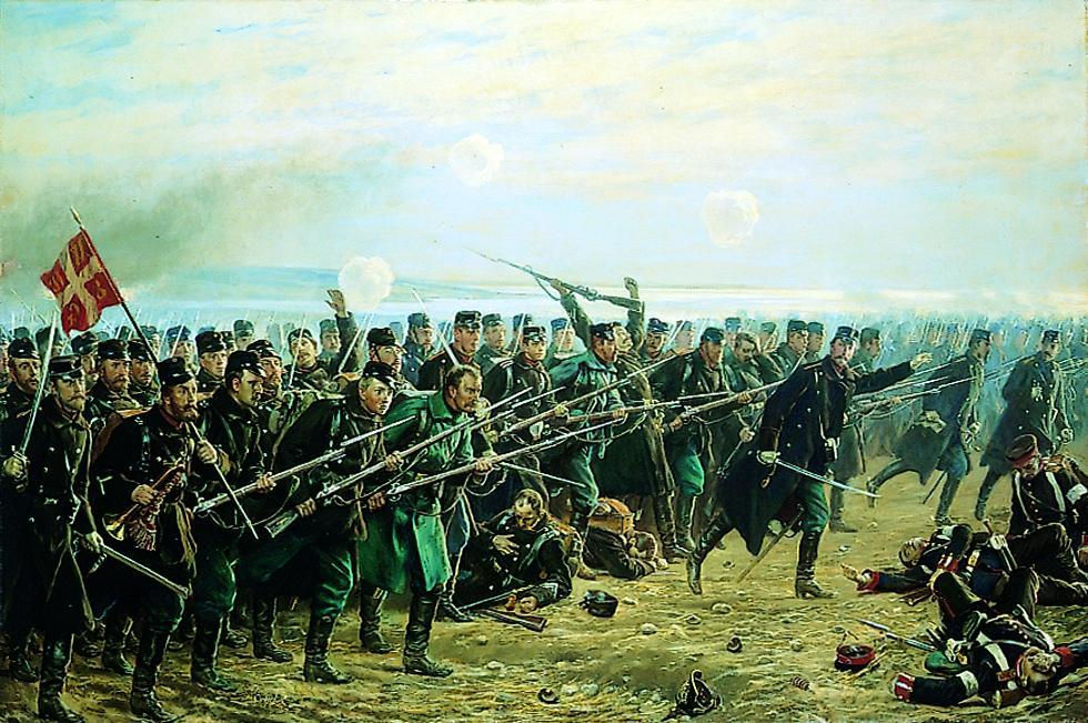 The Eighth brigade's counterattack at Dybboel the 18. of April 1864. Painting by Vilhelm Rosenstand from 1894. Frederiksborg Museum.
