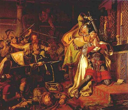 The killing of Cnut the Holy in the church of Odense - painting by Christian Albrecht von Benzon.