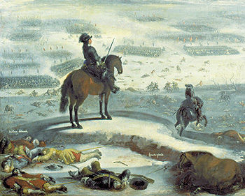 Carl Gustav and the Swedish army go over the ice - painting by Johan Filip Lemke