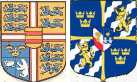 The danish and the swedish royal coat of arms.
