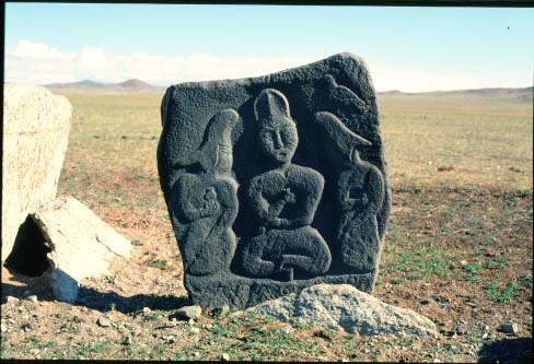 Stone figures from the plain at the salty lake Issyk Kul
