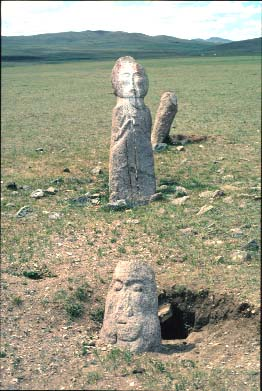 Stone men from the plain at lake Issyk Kul