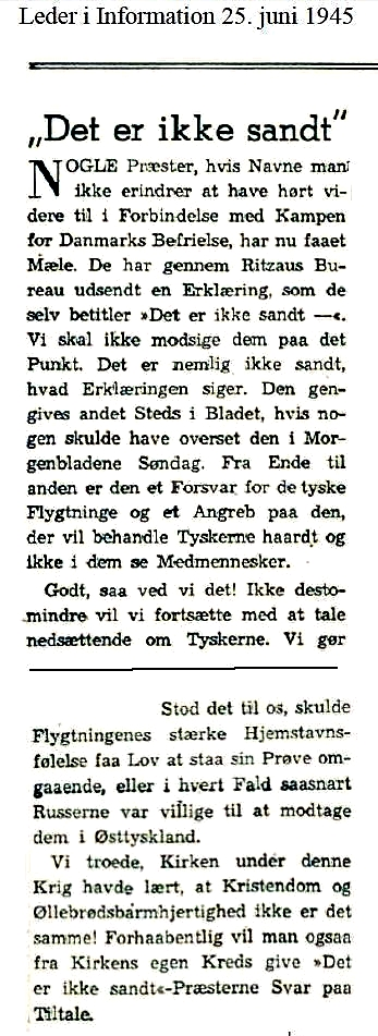 Section of editorial in the left wing newspaper d. 25. Juni 1945
