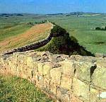 Hadrians wall in North England at Scotland