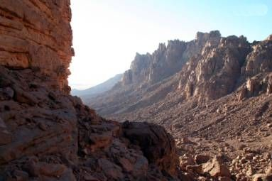 U-shaped glacial valley in Jabal Arkenu in Libya