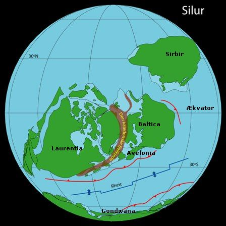 Map of the World in Silurian