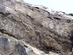 Cliff carvings in the Damadai Mountains