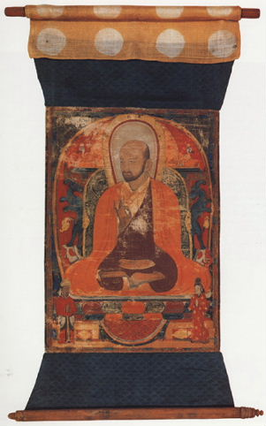 A Buddhist monk from Xi Xia. Discovered by Kozlov in Kara Khoto. Exhibited at the Hermitage in St. Petersburg.