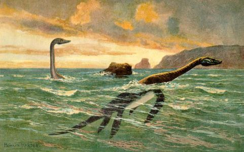 Plesiosaurs painted by Heinrich Harder