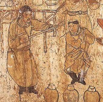 Chinese  drawing of Dan Qi men - note the musician to the left, who has  brown beard and hair - unknown Origin