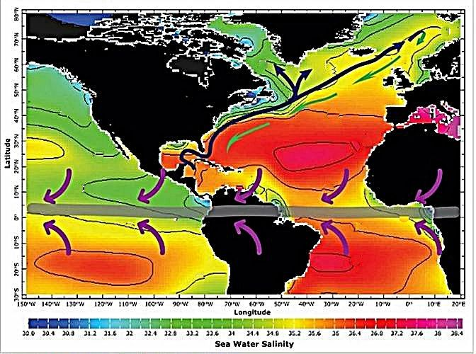 Salinity of surface waters in the Atlantic