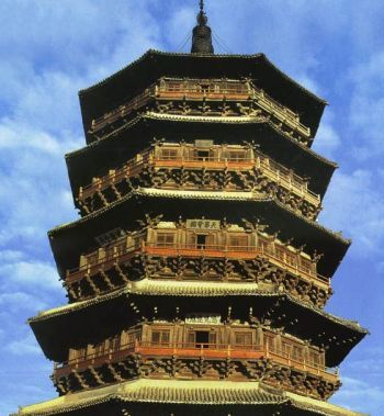 The wooden pagoda at the Fogong monestary in Shanxi