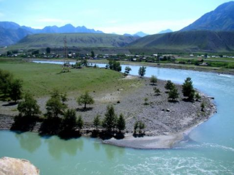 Huge Gravel bar in the  central Altai