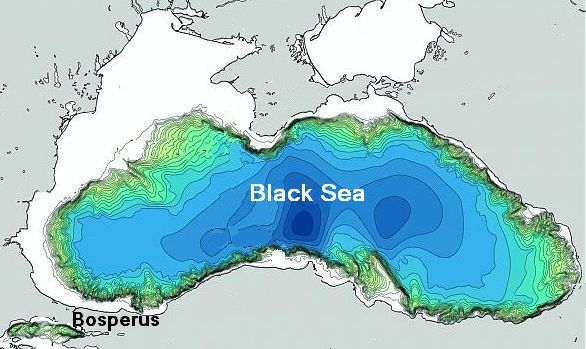 The partially  dried up Black Sea around 5,500 before present