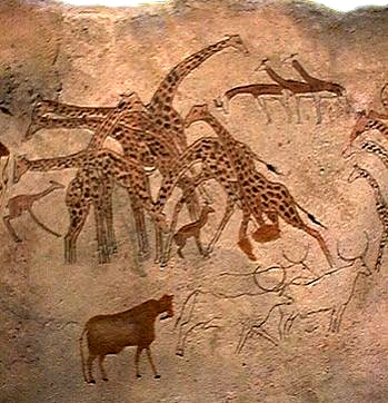 Rock Painting with giraffes from Tassili in southern Algeria