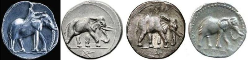 Coins from Carthage with elephant motifs