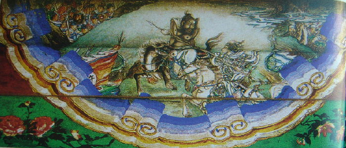 Xu Chu fights against Ma Chao. Picture from the long corridor in the Summer Palace at Beijing