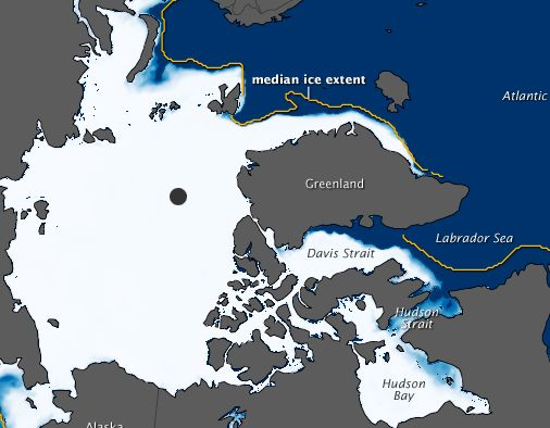 Extension of sea ice in the Arctic Ocean in winter