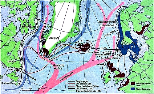 The sailing routes of the Vikings