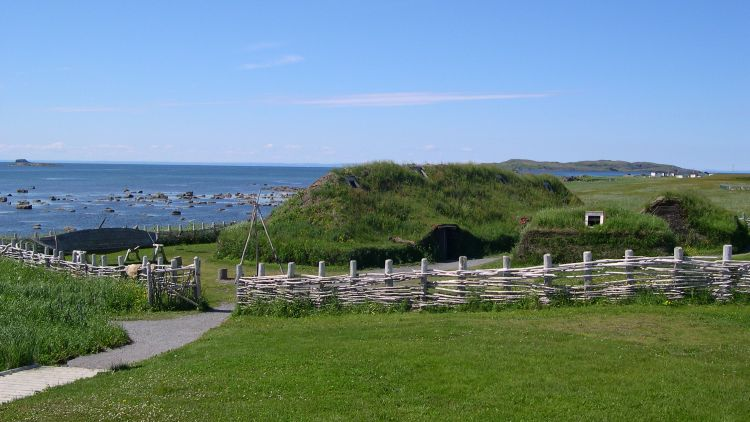 Reconstructed Viking house at L'Anse aux Meadows in Newfoundland