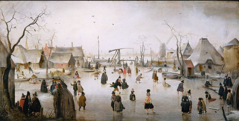 Children play on a frozen Dutch channel during the Little Ice Age