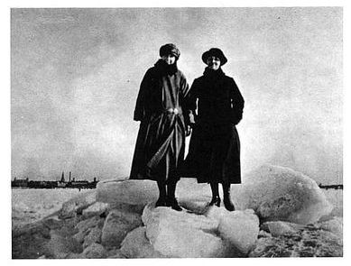 Two women from  Malmo in front of the frozen Oresund in 1924