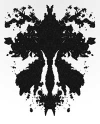An inkblot that resembles the female sexual organ, an orchid or a  microscopic invertebrates