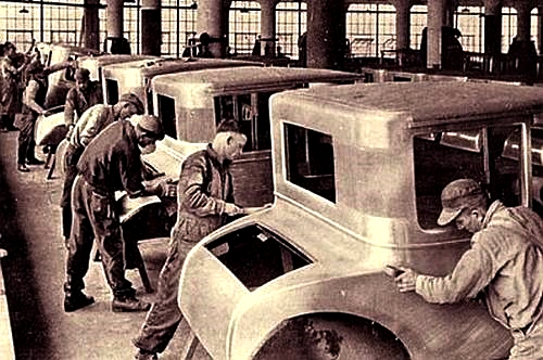 Division of labor in an automobile factory