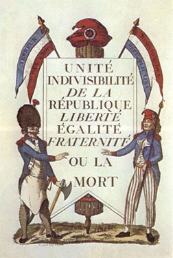 Liberty, Equality and Fraterniry on a revolutionary postcard