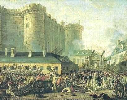 The attack on the fortress of Bastillien d. 14 June 1789