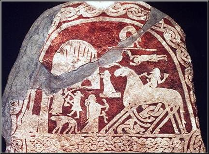 The God Odin on his eight legged horse Sleipner - on a stone from Gotland