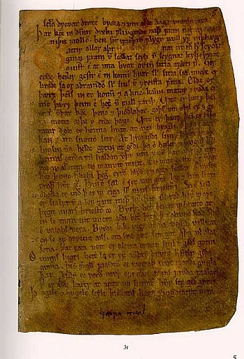 A page of the mediaval Icelandic document which contains Havamal