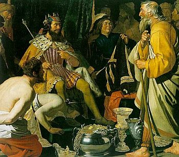Solon visits king Croesus of Lydia - painting by Honhorst from the seventeenth century
