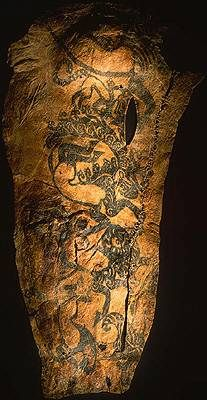 Tattoos found on the body of a scytian warrior in a permafrozen tomb from 400 BC