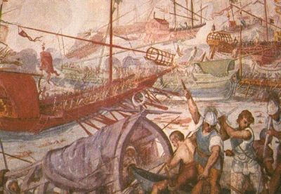 The sea battle at Lepanto