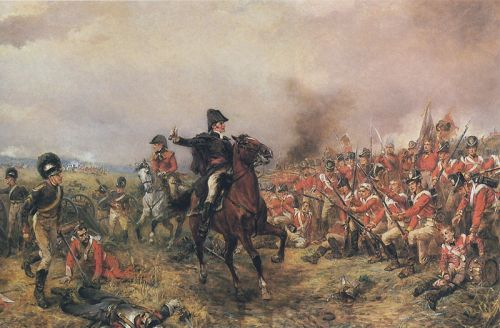 Wellington on the battlefield of Waterloo - painting by Hilligford