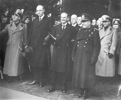 Halifax and Chamberlain visiting Mussolini and his Foreign Minister and  son in law, Ciano