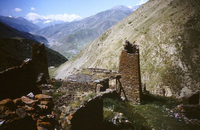 Defence towers in North Ossetia in the Caucasus Mountains