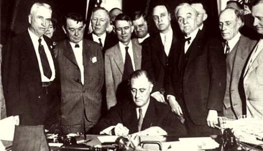 Franklin D. Roosevelt signed the law on the Tennessee Valey Project May 18. 1933