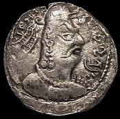 Coin with a portrait of the Hepthalites king
