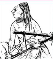 Chinook Indian from the American West Coast with a baby in a wooden squeeze