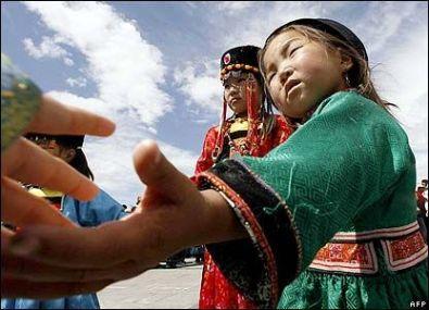 Fair haired little girl from Mongolia