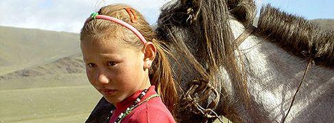Blonde little girl from Tuva near Mongolia