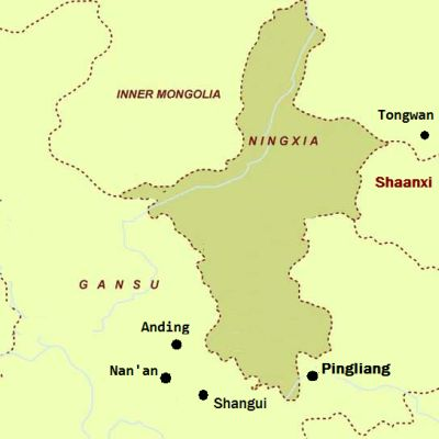Map showing Ningxia and the south eastern Gansu
