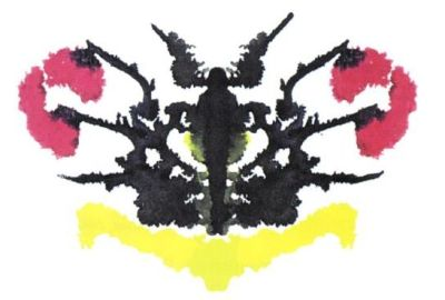 An ink blot of unknown origin - it looks like a Rorschach card
