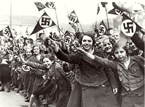Young girls welcome Adolf Hitler to Austria