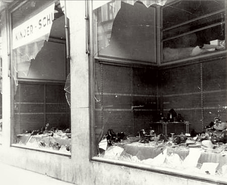 Jewish owned shoe store the morning after the Crystal Night
